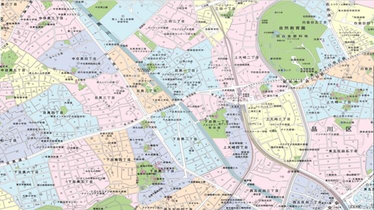 肥前国島原藩主松平主殿頭千代ヶ崎抱屋敷と目黒一丁目界隈(平成15年地図)